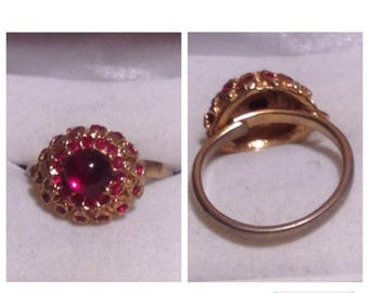 On Sale Red and Gold Tone Stone Ring