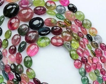 AAA+ quality gemstone 10 inch long strand NATURAL TOURMALINE smooth oval beads 2 x 6 -- 7 x 14 mm, multi color tourmaline, tour, natural