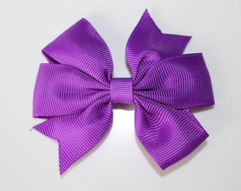 Purple bow for girl hair clip