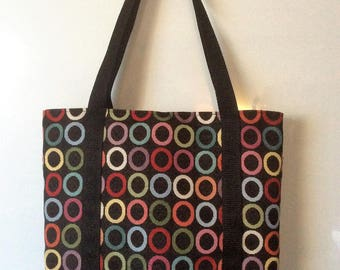 double upholstery fabric tote bag