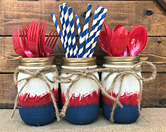 Painted Mason Jar Home Decor. Fourth of July. Patriotic. OMBRE. 4th of July. Chalk Paint. Vintage. Rustic Vase. Wedding Centerpiece. Gift.