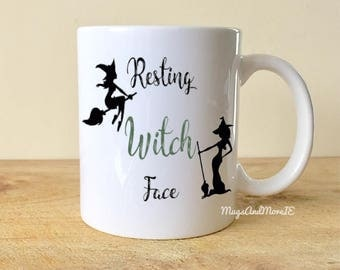 Resting witch face mug, Halloween mug, witch mug, halloween decor, coffee mug, funny coffee mug, fall mug, autumn mug,