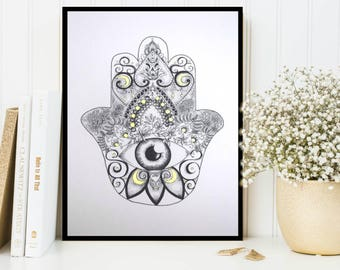 Hamsa Hand of Fatima Framed Dotwork Drawing with Gold Detail