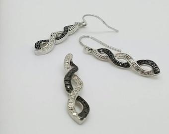 Vintage black and white diamonds earrings pendant set