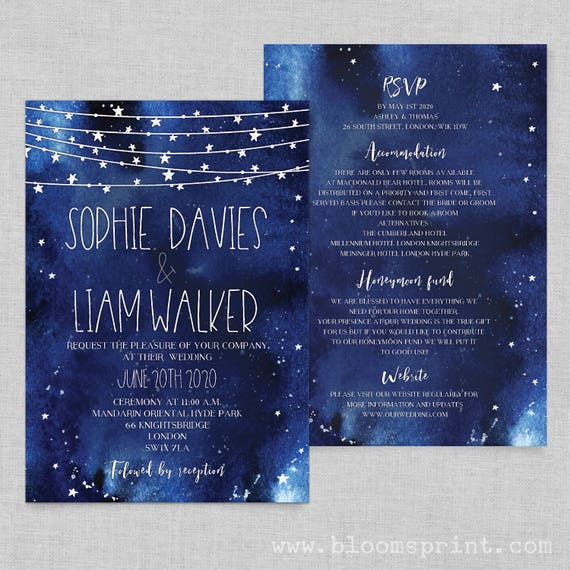 Starry night wedding invitations printable, Night sky wedding invitation template, Stars wedding invite navy,  PDF or printed version, A5