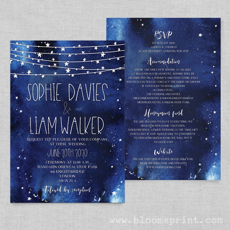 Starry night wedding invitations printable, Night sky wedding ...