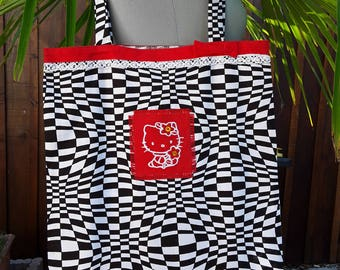 Hello Kitty/Tote bag/bag library/door document/psychedelic black and white embroidered fabric with a Kitty in red