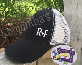 Black and White R+F Hat, Embroidered Rodan and Fields Hat, Trucker style R+F Hat, Monogrammed Hat