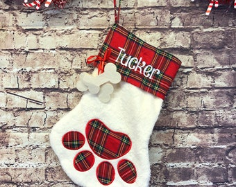 Custom Pet Christmas Stocking Gift, Embroidered Stocking for dog or Cat,  Christmas Decoration Holiday Decoration gift, Dog Gift, Cat Gift