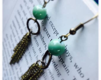 Bronze, Boho, Industrial, Glass Turquoise Bead and Chains, Dangle, Drop, Chandelier Earrings
