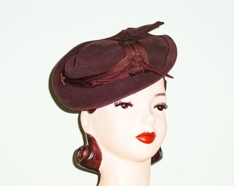 Vintage  1940s 40s Style Brown Wool Felt Tilt Hat Pillbox Topped Perch Made from Original 40s Materials Dita Von Teese WW2 30s 1930s dress
