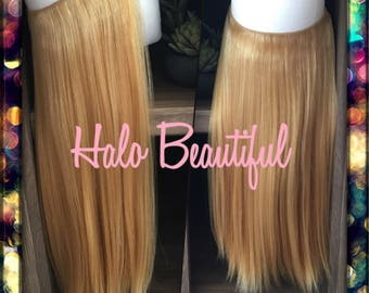 Hair extensions etsy halo style hair extensions 20 length 100 human hair extensionshidden pmusecretfo Gallery