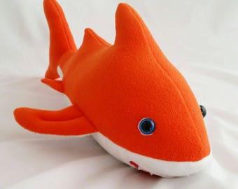 Shark teddy, shark bear,fleece shark,Sammy shark,happy shark, cuddly shark, orange shark, white shark, sea creature, ocean