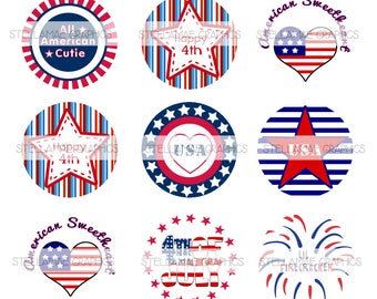 4th of July - 1 inch circle images, bottlecap, cupcake topper, red white and blue, patriotic - INSTANT DOWNLOAD