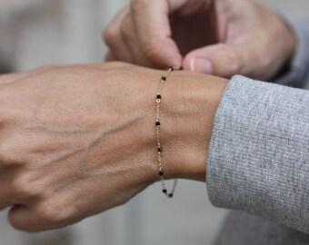 Gold Bead Bracelet | Black Bead Bracelet | Gold Dainty Bracelet | Fine Gold Bracelet | Beaded Bracelet