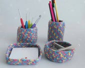 Desk/craft tidy, Handmade multicolour set of 4 crochet pots for storage of stationary, pens, craft items, brushes, pencils and memo pads