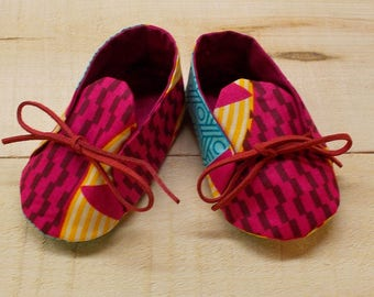 Red Yellow Turquoise Abstract African Wax Print Baby Booties