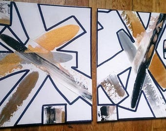 Abstract Painting on Canvas Set of Two Painting Original Art Gold Black Shapes Set of 2 Paintings / Art Gift Set Wall Art Wall Painting