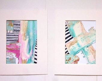Abstract Painting Original Acrylic Art Set of Two Textured Metallic Gold Pink Blue Black and White Freehand Geometric Wall Paint Set 8 x 10