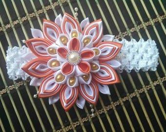 Light orange/white Kanzashi Flower Headband for little Girls