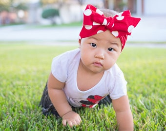 Baby Headwrap, Red polka dot head wrap, Red head wrap, fabric head wrap, newborn headband, baby headband, toddler headband, baby head wrap