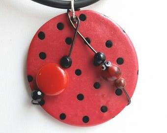 Pendant necklace door happiness, ladybug, Bull's eye