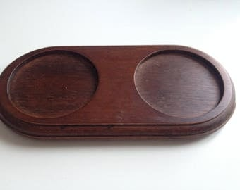 Wood cups tray.