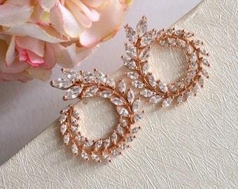 Rose Gold Laurel Wreath Crystal Bridal Earrings, CZ Grecian Leaves Wedding Stud Earrings, Rose Gold Leaf Earrings, Greek Goddess Earrings.
