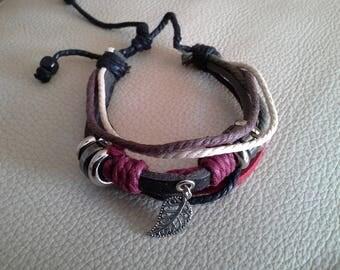 rope leather bracelet and suedine, leaf charm