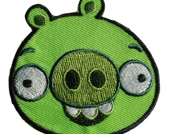 Patch / patch - Angry birds comic children - Green - 5, 9 x 5, 8 cm - patch application applications to the iron application patches patch