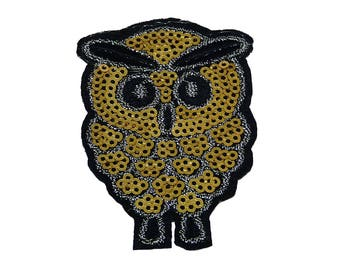 Patch/Ironing-owl with sequins-gold-6.3 x 4.2 cm-by catch-the-Patch ® patch appliqué applications for ironing application patches patch