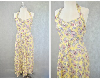 1930s Dress | Yellow Floral Evening Dress | Vintage Halter Neck Dress | 1930s Evening Dress