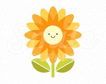 HAPPY ORANGE FLOWER Clipart Illustration for Commercial Use | 0030