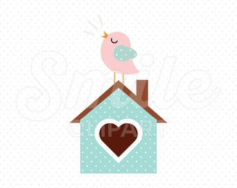 BIRD ON BIRDHOUSE Clipart Illustration for Commercial Use   0082