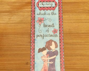 Bible Verse Bookmark - Colossians 3:14 -  handmade WITHOUT tassel  (stock #14) put on charity...the bond of perfectness