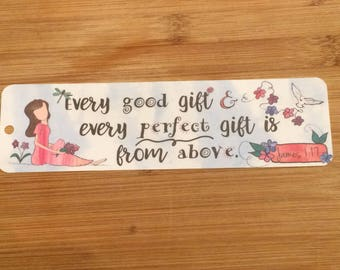 Bible Verse Bookmark - James 1:17 -  handmade WITHOUT tassel  (stock #23) every good gift and every perfect gift