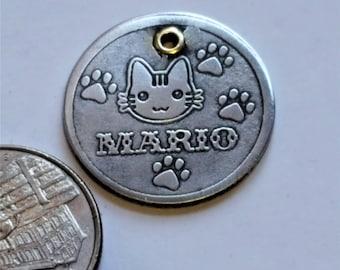 HandmadeA12 Cat ID Tag - Pet Tag-Kitten Name Tag-Hand Made BRASS Pet Tag-Custom-Design Cat Tag 25 Cat FACES