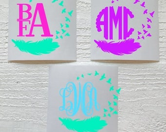 Feather Monogram Decal / Feather Bird Decal / Feather Bird Monogram Decal / Car Decal / Personalized / Yeti Decal / Laptop Decal