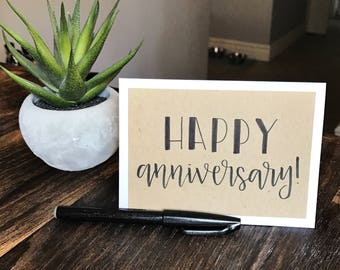 Set of 5 Happy Anniversary Greeting Cards - Handmade Rustic Calligraphy Cards