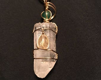 Wire Wrapped Quartz and Citrine Necklace