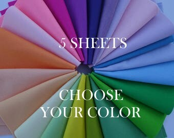 "100 Percent Wool Felt Sheets - 5 Sheets of 8"" X 12"" Felt - You Pick Color - Merino Wool Felt - 100% Wool Felt"