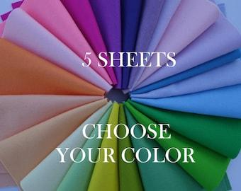 """100 Percent Wool Felt Sheets - 5 Sheets of 8"""" X 12"""" Felt - You Pick Color - Merino Wool Felt - 100% Wool Felt"""