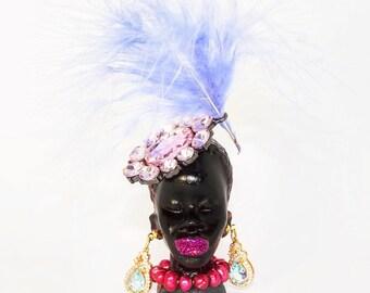 Black moor brooch, woman moor , princess ephiopy brooch , carnival trinidad brooch, unique brooch
