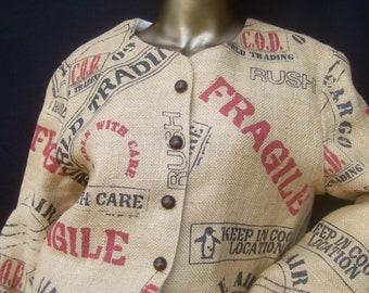 Avant Garde Burlap Fabric Print Women's Jacket