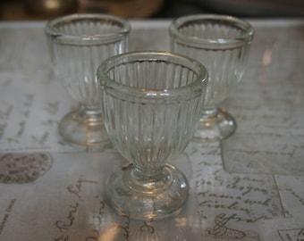 Set of 3 Vintage Glass Egg Cups, Collectibles, Vintage British Glassware, Farmhouse Decor, Gift Idea, Servingware, Breakfast Time