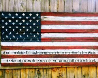 Wood American Flag,  2nd Amendment, 2nd Amendment Flag, American Flag, Wooden American Flag