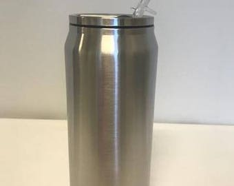 Powder Coated HOGG 17 oz. Can with Straw - Customized Stainless Steel Can - Laser Engraved Can - Custom Gifts