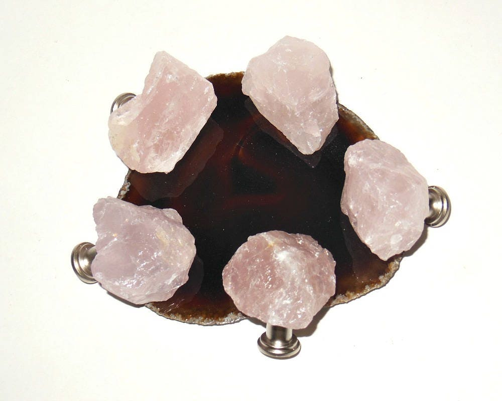 Rose Quartz Gemstone Drawer Knobs Raw Natural Free Form
