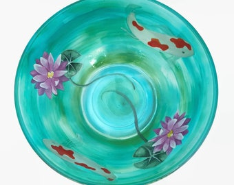 Hand Painted Glass Bowl, Glass Art Bowl, Unique Bowl, Koi Pond, Painted Koi, Koi Fish, Koi Art, Painted Soup Salad Cereal Bowl
