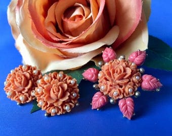 SALE Vintage Floral Carved Celluloid & Seed Pearl Brooch and Earring Set, Vintage Faux Coral Jewelry Set, Vintage Brooch and Screw Back Earr